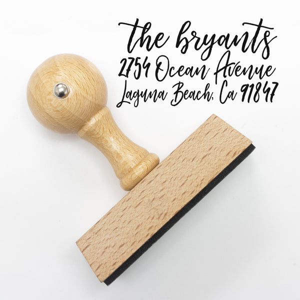 "Calligraphy Custom Return Address Stamp, Personalized Return Address Stamp, Cursive Handwriting Return Address Stamp ""The Bryants"""
