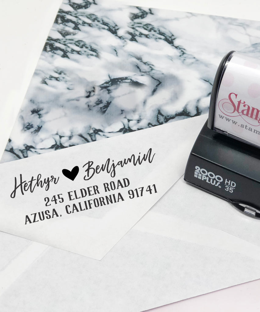 "Couple's Names Custom Return Address Stamp, Newly Wed Stamp, First Name Stamp, Personalized Return Address Stamp, Return Address Stamp ""Hethyr & Benjamin"""