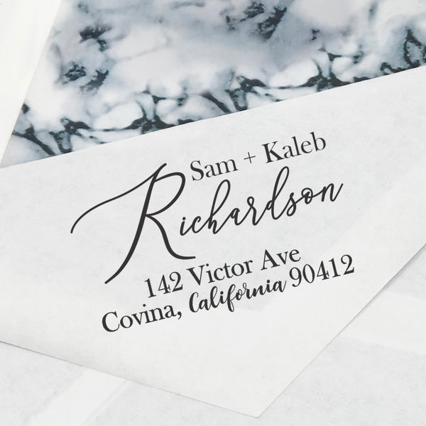 "Couples Custom Return Address Stamp, Newly Wed Stamp, First Name Stamp, Personalized Return Address Stamp, Return Address Stamp ""Sam & Kaleb Richardson"""