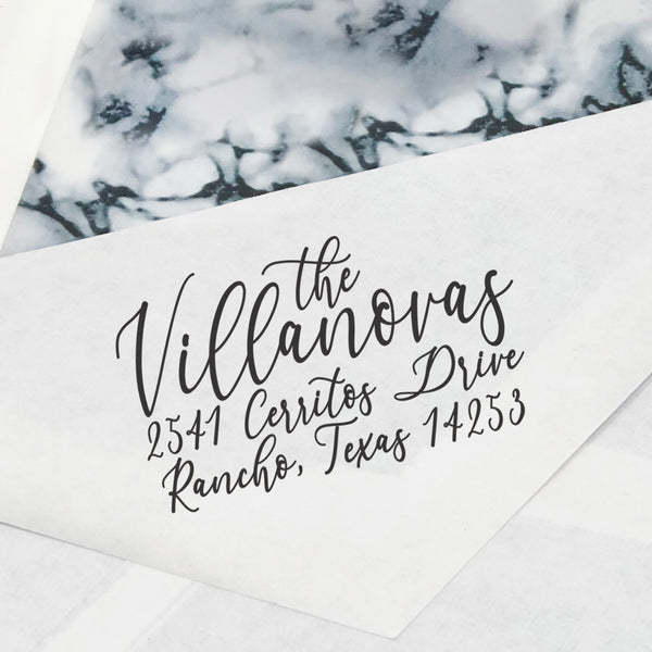 "Calligraphy Family Custom Return Address Stamp, Newly Wed Stamp, Family Stamp, Personalized Return Address Stamp, Return Address Stamp ""The Villanovas"""