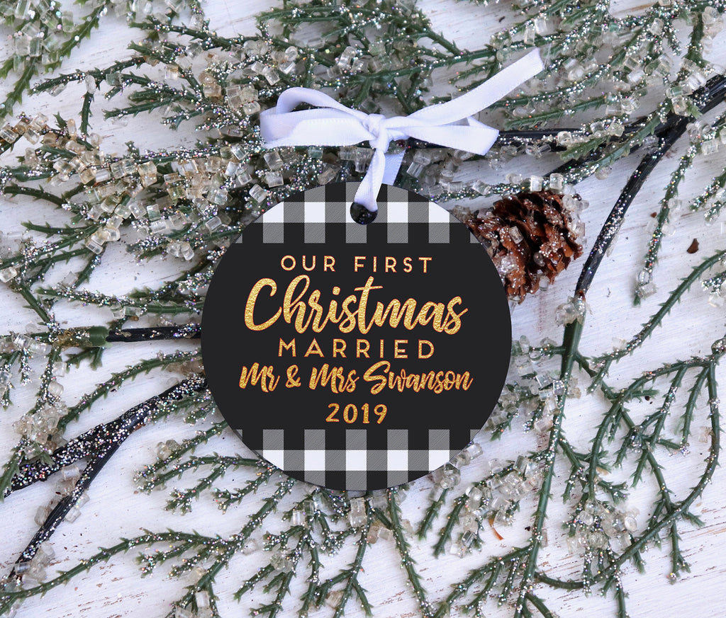 Our First Christmas Married Personalized Ornament, Personalized Christmas Ornament