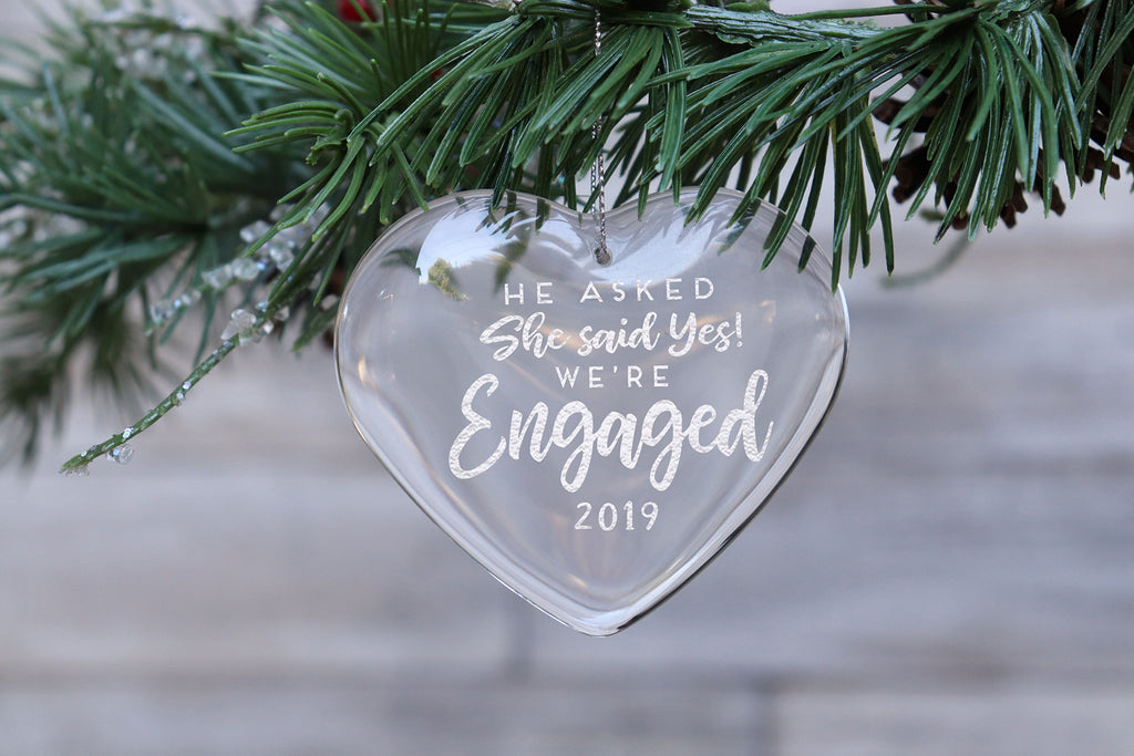 First Christmas Engaged Glass Ornament, Personalized Engraved Glass Ornament