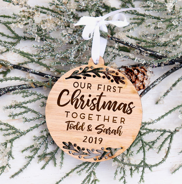 Our First Christmas Personalized Engraved Christmas Ornament