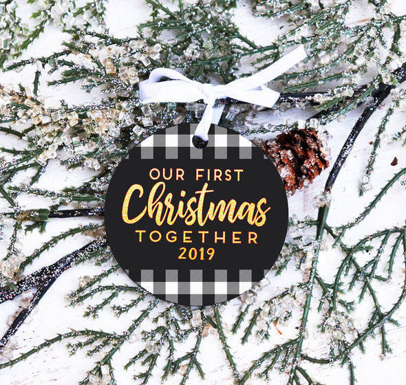 First Christmas Together Ornament, Buffalo Check Christmas Ornament