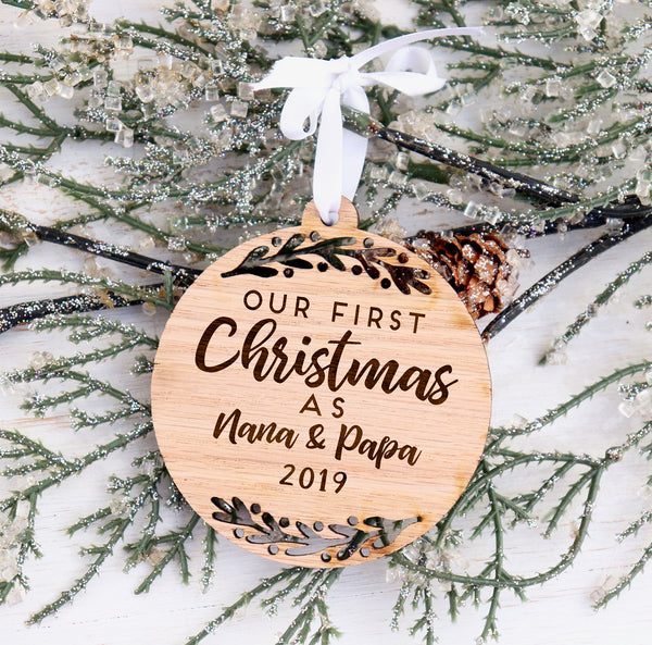 First Christmas Nana & Papa Ornament, Grandparent Christmas ornament