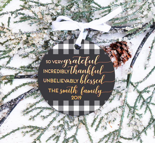 Grateful Family Personalized Christmas Ornament,  Buffalo Check Christmas Ornament