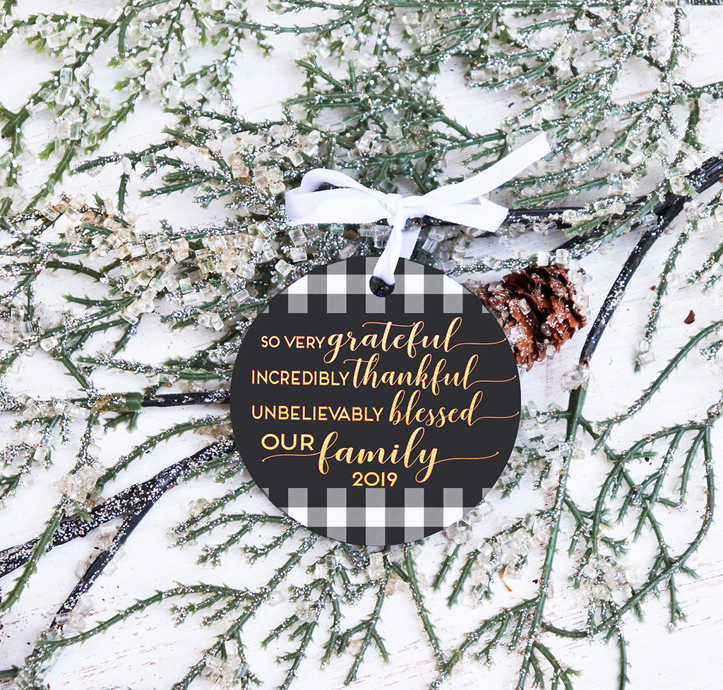 Grateful Thankful Blessed Family Christmas Ornament,  Buffalo Check Christmas Ornament