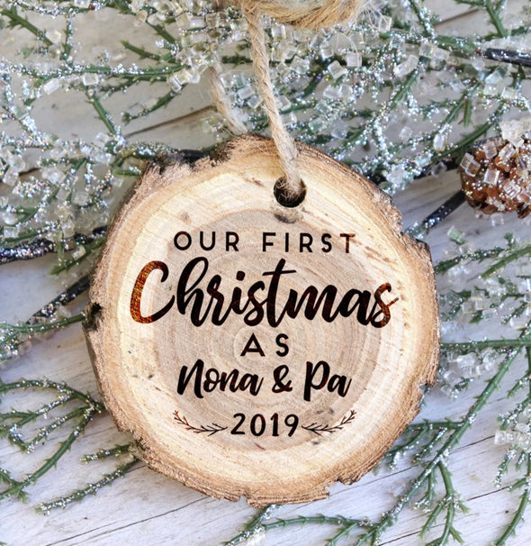 Wood Slice Christmas Ornament, First Christmas as Grandparents Tree Slice Ornament