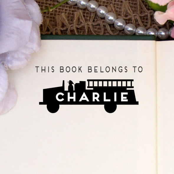 "Personalized Book Belongs to Stamp - ""Charlie"" Firetruck"