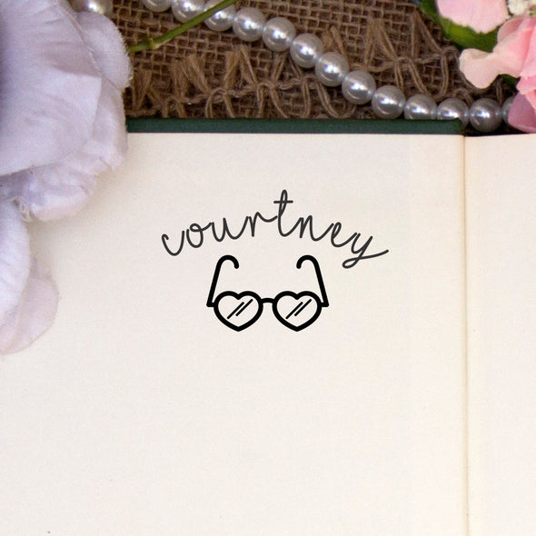 "Personalized Kids Name Stamp - ""Courtney"" Heart Glasses"