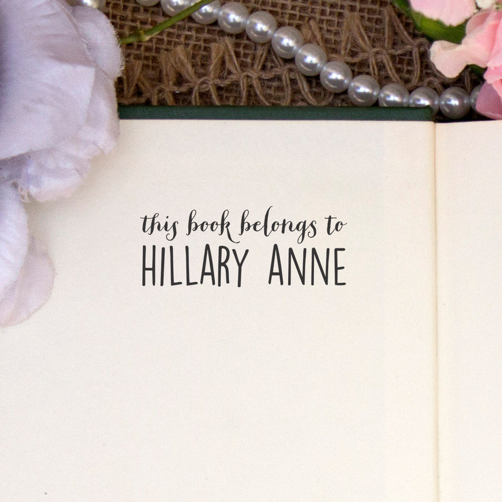 "Personalized Book Belongs to Stamp - ""Hillary Anne"""