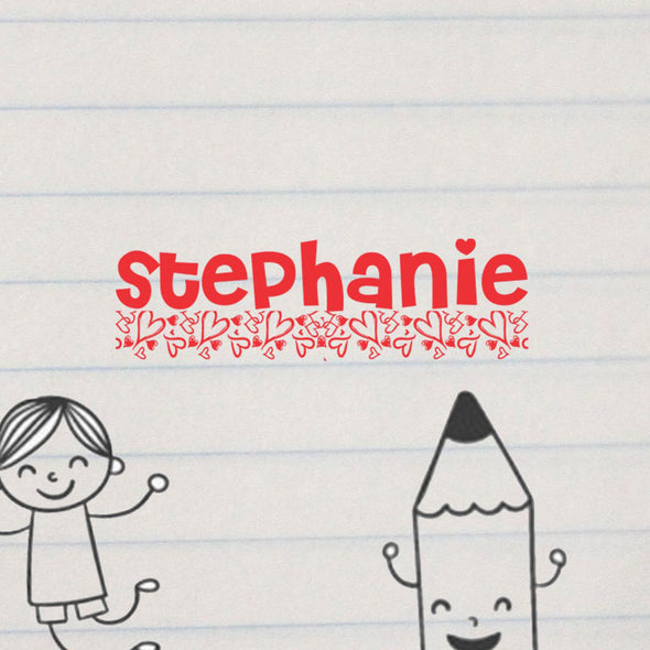 "Personalized Kids Name Stamp - ""Stephanie"" Hearts"