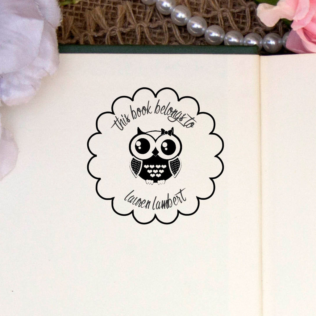 "Personalized Book Belongs to Stamp - ""Lauren Lambert"" Owl"