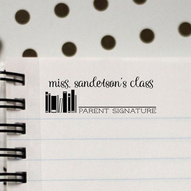 "Teacher Stamp ""Miss Sanderson"" Parent Signature"