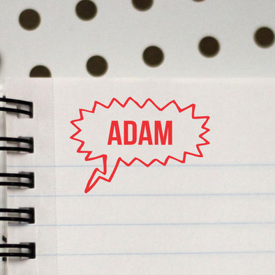 "Personalized Kids Name Stamp - ""Adam"" Thought Bubble"