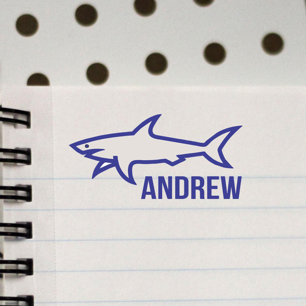 "Personalized Kids Name Stamp - ""Andrew"" Shark"