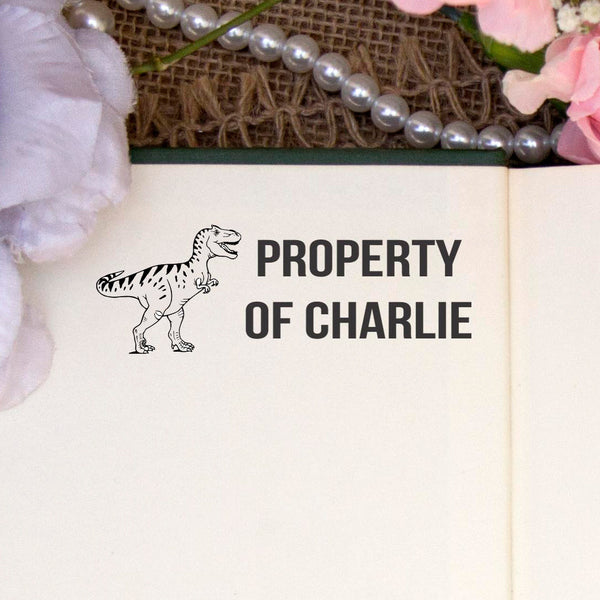 "Personalized Property of Stamp - ""Charlie"" Dinosaur"