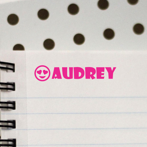 "Personalized Kids Name Stamp - ""Audrey"" Smiley Face"
