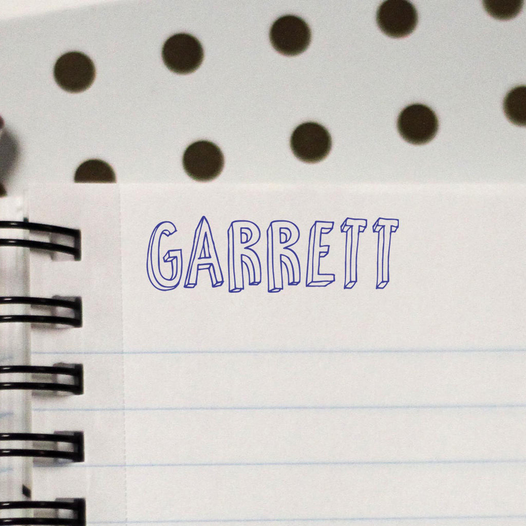"Personalized Kids Name Stamp - ""Garret"" Outlines"