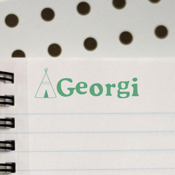 "Personalized Kids Name Stamp - ""Georgi"" TeePee"