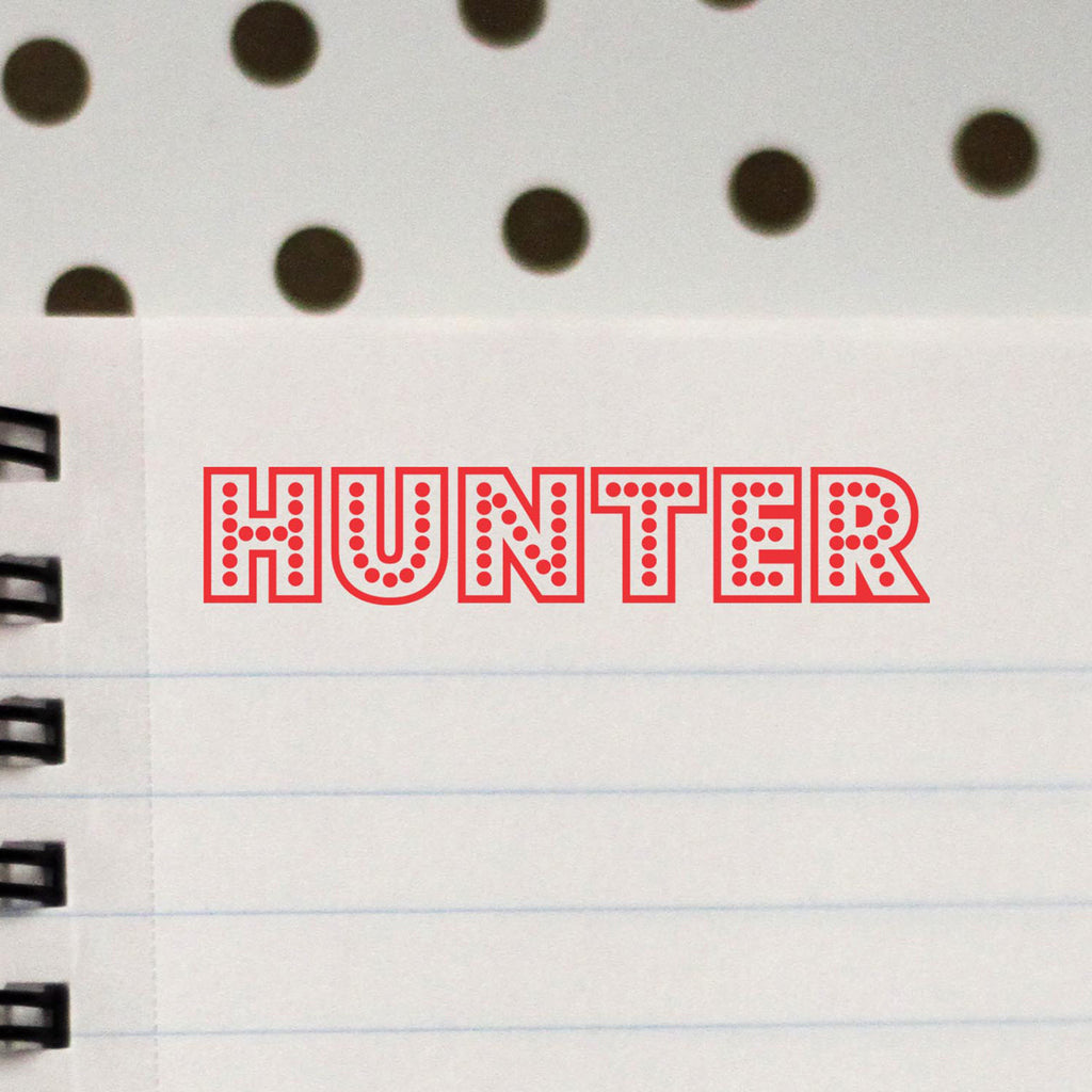 "Personalized Kids Name Stamp - ""Hunter"" Big Lights"