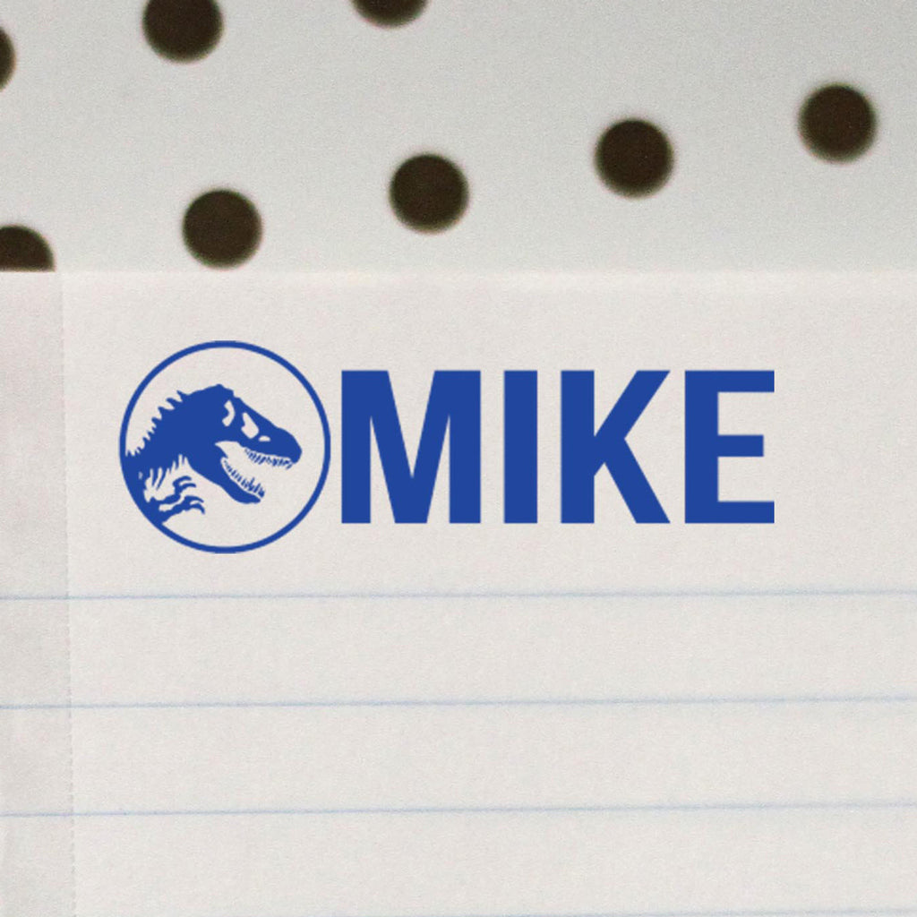 "Personalized Kids Name Stamp - ""Mike"" Dinosaur"