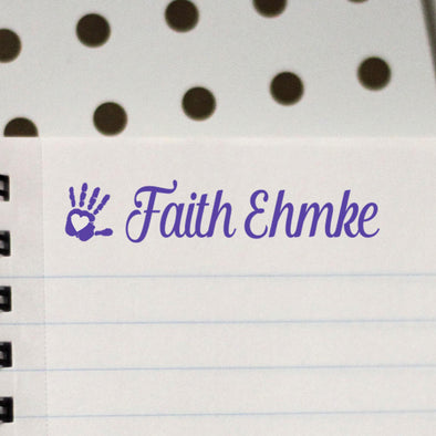 "Personalized Kids Name Stamp - ""Faith Ehmke"" Heart in Hand"