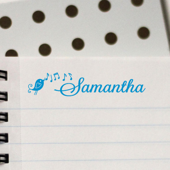 Personalized Kids Name Stamp Bird with Music Notes