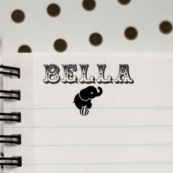 "Personalized Kids Name Stamp - ""Bella"" Elephant"
