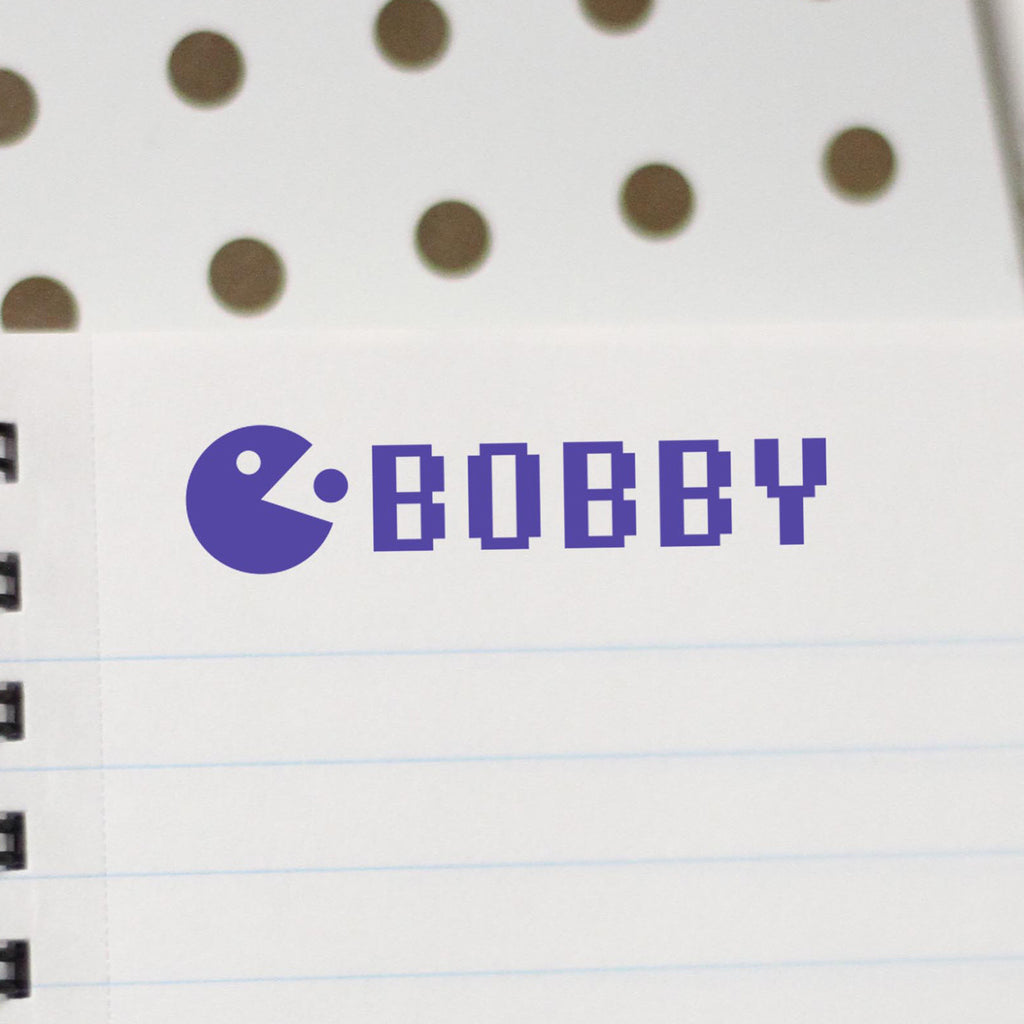"Personalized Kids Name Stamp - ""Bobby"" Pac-Man"