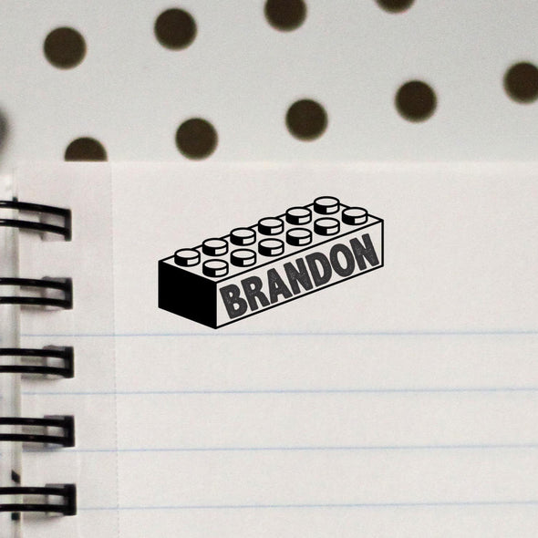 "Personalized Kids Name Stamp - ""Brandon"" Lego"