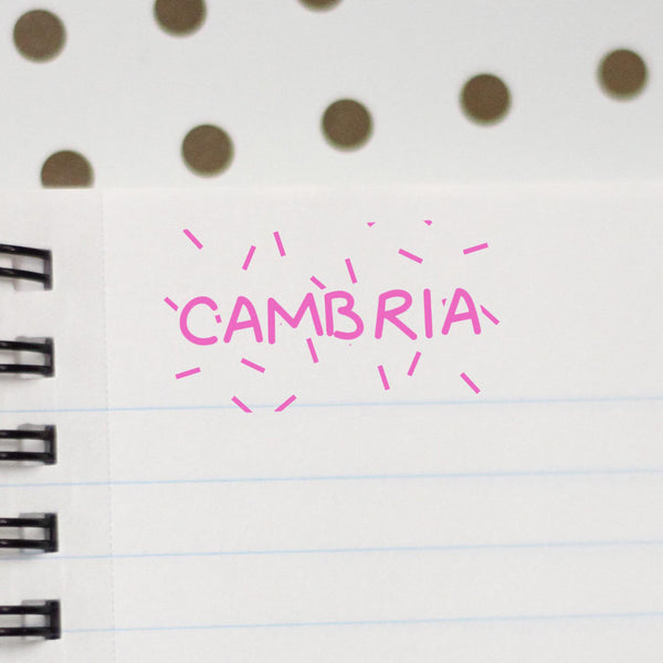 "Personalized Kids Name Stamp - ""Cambria"" Dashes"