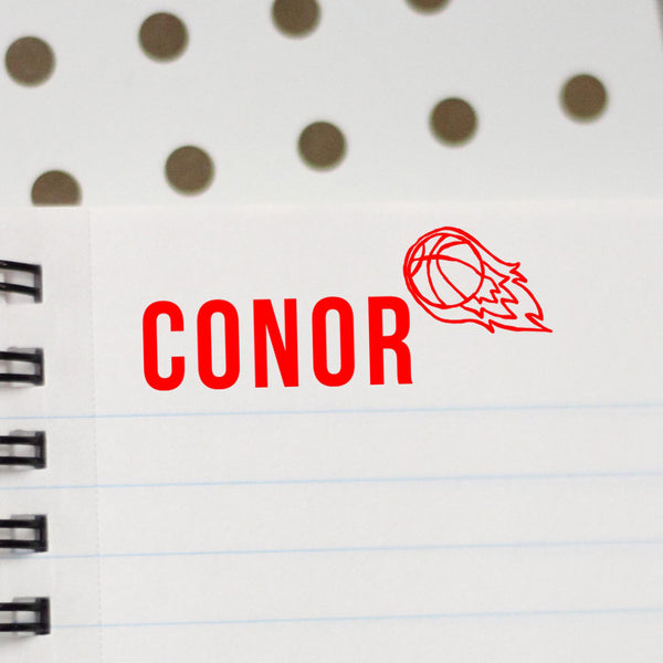 "Personalized Kids Name Stamp - ""Conor"" Basketball"