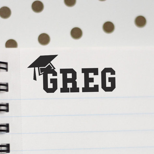 "Personalized Kids Name Stamp - ""Greg"" Graduation Cap"