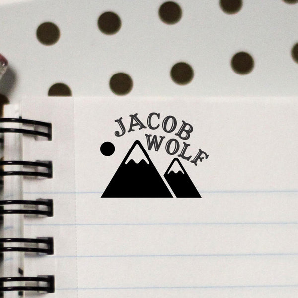 "Personalized Kids Name Stamp - ""Jacob Wolf"" Mountain"