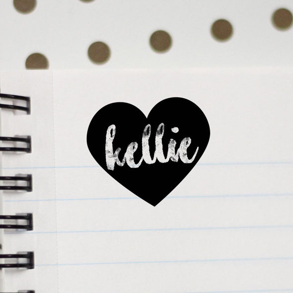 "Personalized Kids Name Stamp - ""Kellie"" Heart"