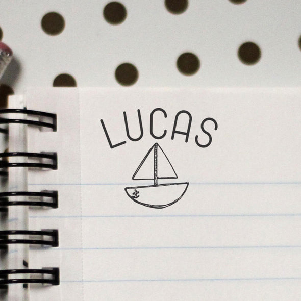 "Personalized Kids Name Stamp - ""Lucas"" Sailboat"