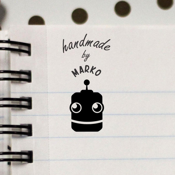 "Personalized Stamp - ""Handmade by Marko"" Robot"