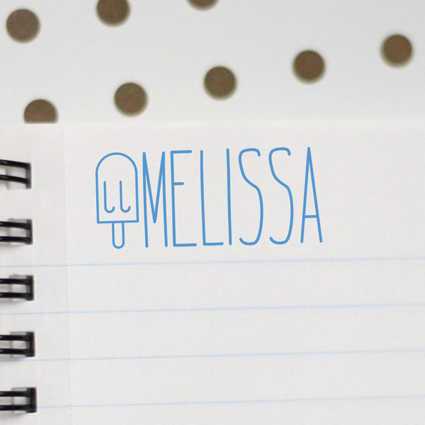 "Personalized Kids Name Stamp - ""Melissa"" Ice Cream"