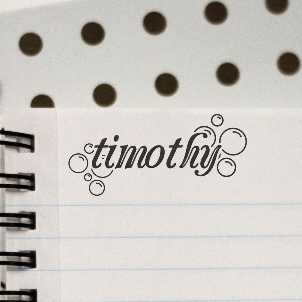 "Personalized Kids Name Stamp - ""Timothy"" Bubbles"