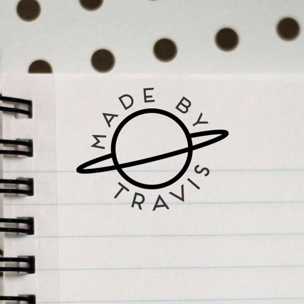 "Personalized Stamp - ""Made by Travis"" Planet"
