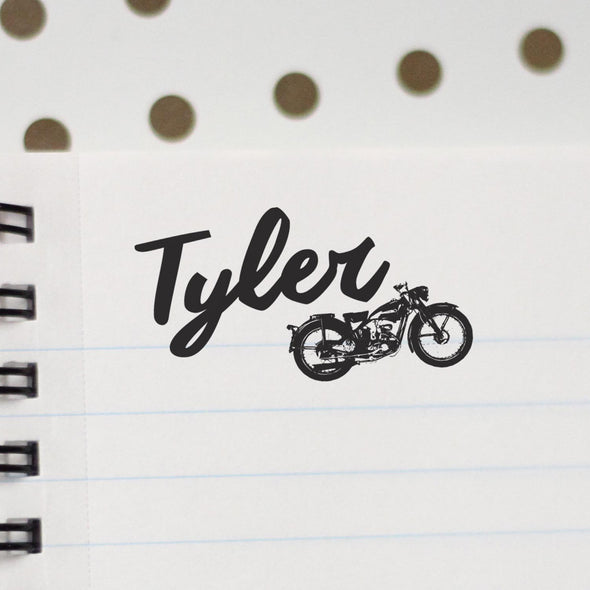 "Personalized Kids Name Stamp - ""Tyler"" Motorcycle"