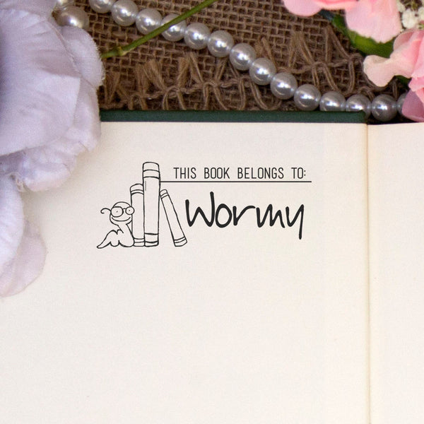 "Personalized Book Belongs to Stamp - ""Wormy"""