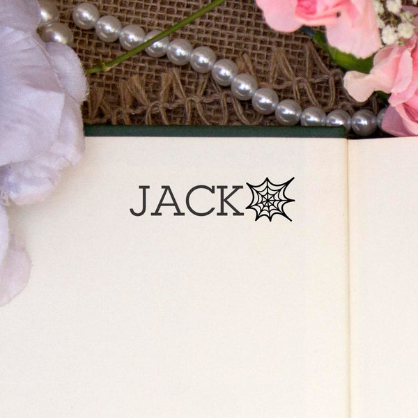 "Personalized Kids Name Stamp - ""Jack"" Spider Web"