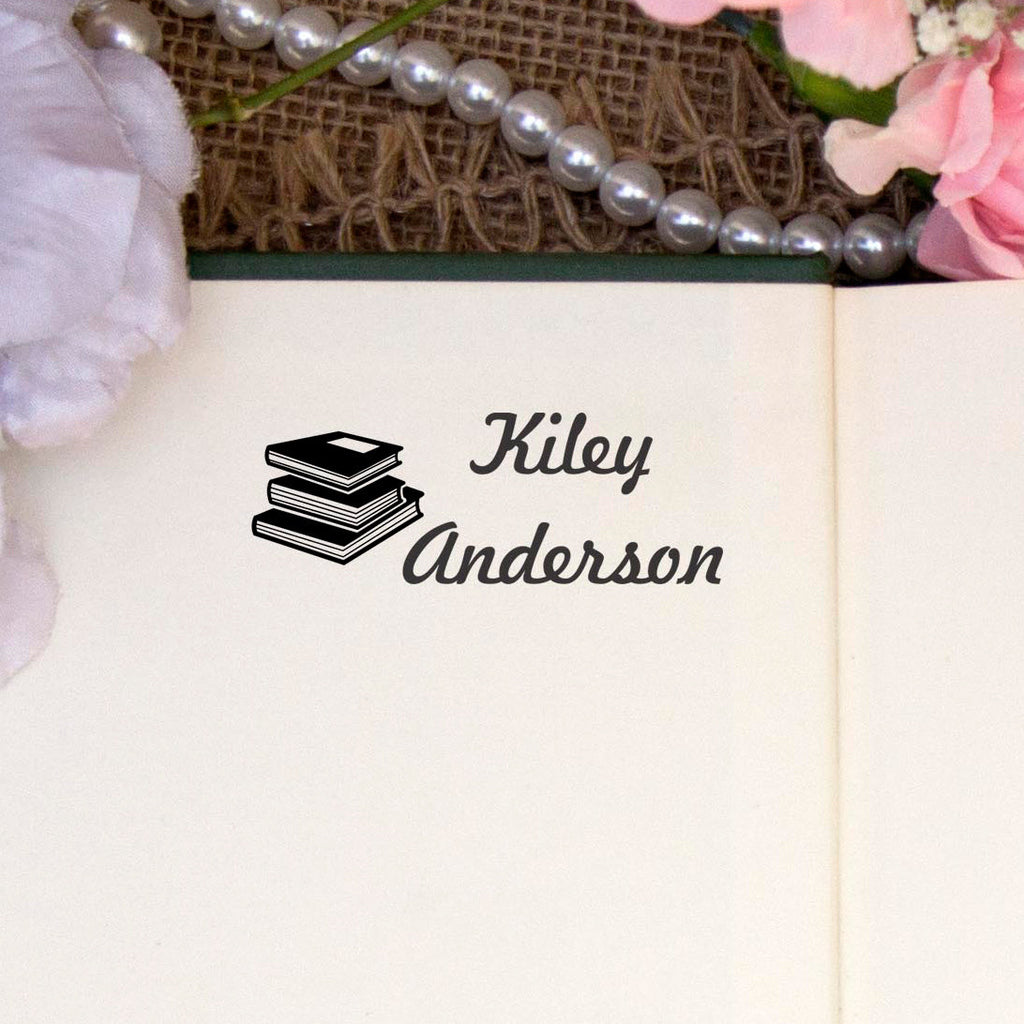 "Personalized Kids Name Stamp - ""Kiley Books"""