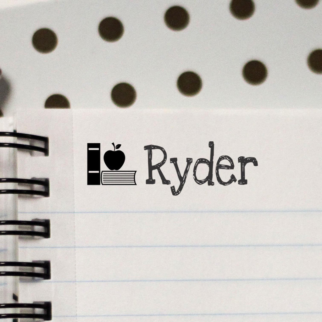"Personalized Kids Name Stamp - ""Ryder"" Books & Apple"