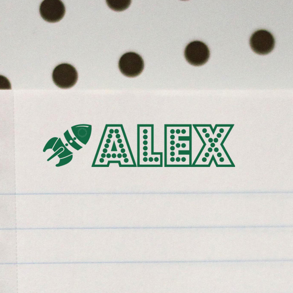"Personalized Kids Name Stamp - ""Alex"" Rocket"