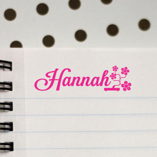 "Personalized Kids Name Stamp - ""Hannah"" Flowers"