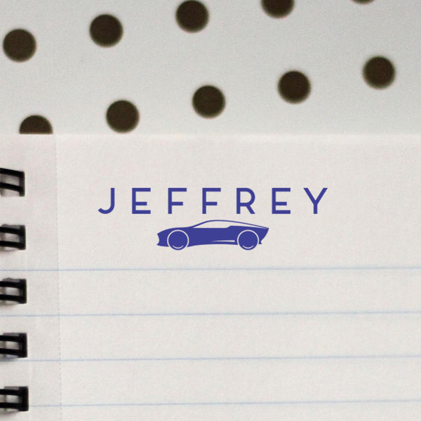 "Personalized Kids Name Stamp - ""Jeffrey"" Car"