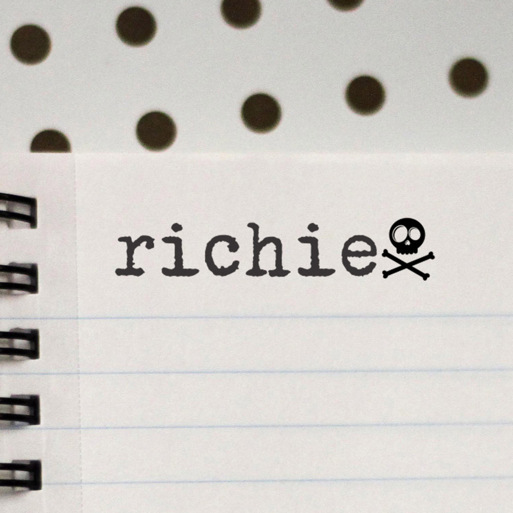 "Personalized Kids Name Stamp - ""Richie"" Skull"